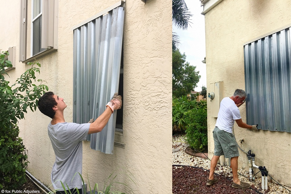 Installing metal bolt on hurricane shutters in Palm Beach County