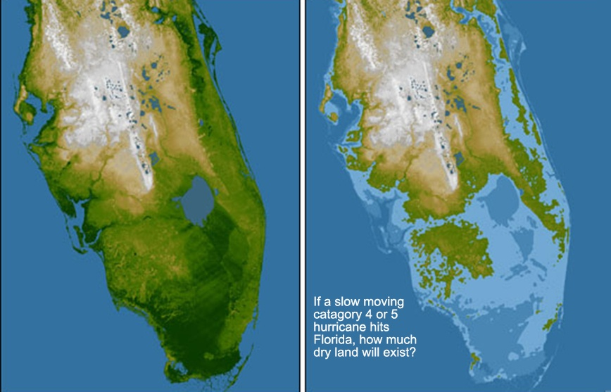 Florida land above sea level to demonstrate possible flood zones